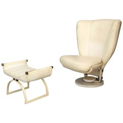 Swivel Armchair by Marzio Cecchi with Pouf in Brass and White Leather from 1970