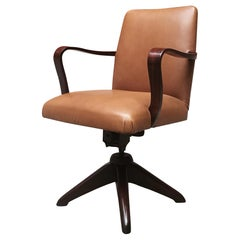 Swivel Armchair in Leather and Rosewood, from 1960s