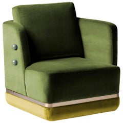 Swivel Armchair with Soft Velvet and Brass Detail Panorama
