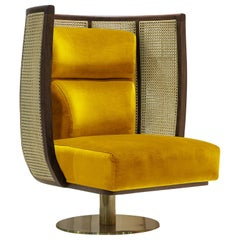Swivel Armchair with Solid Walnut, Rattan and Soft Velvet