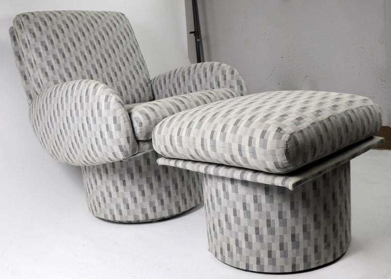 Swivel Chair and Ottoman after Milo Baughman by Classic Gallery Inc. For Sale 3