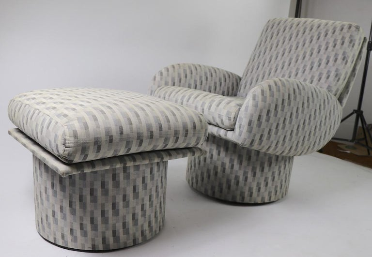 Swivel Chair and Ottoman after Milo Baughman by Classic Gallery Inc. For Sale 8