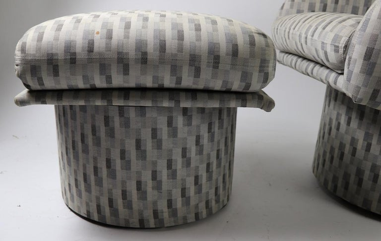North American Swivel Chair and Ottoman after Milo Baughman by Classic Gallery Inc. For Sale