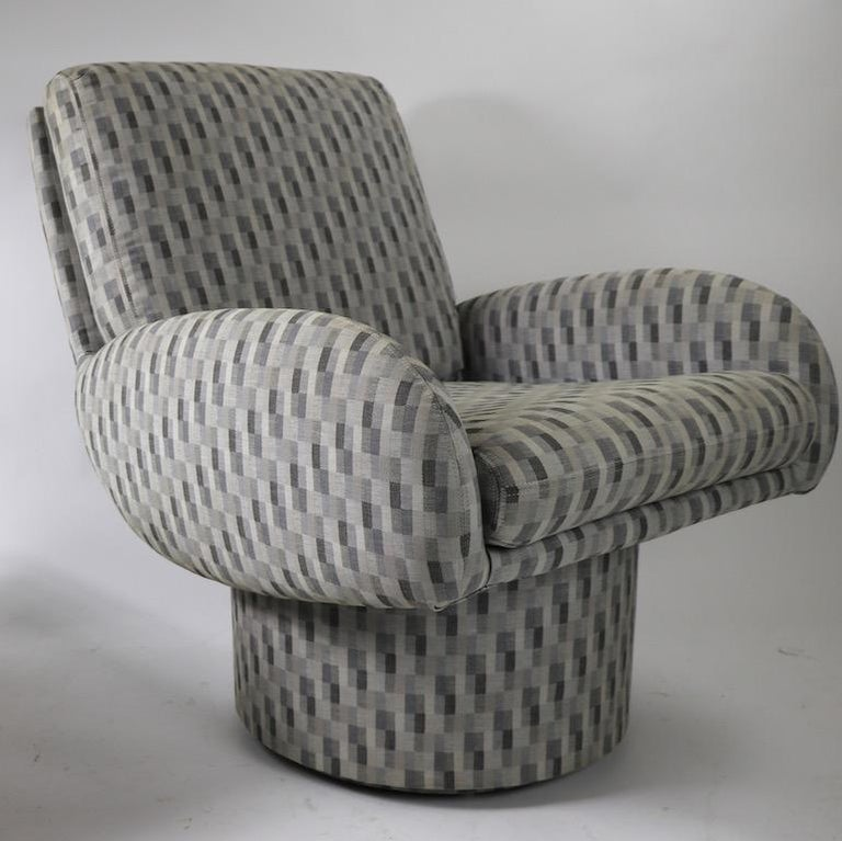 Upholstery Swivel Chair and Ottoman after Milo Baughman by Classic Gallery Inc. For Sale