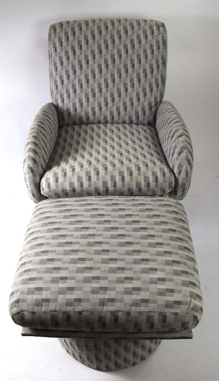 Swivel Chair and Ottoman after Milo Baughman by Classic Gallery Inc. For Sale 1