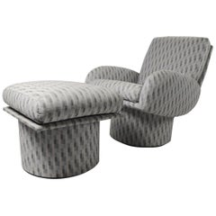 Swivel Chair and Ottoman after Milo Baughman by Classic Gallery Inc.