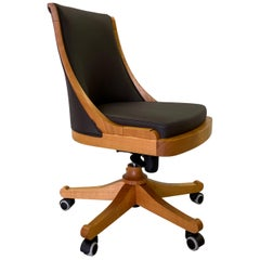 Swivel Chair on Wheels Made in Cherrywood