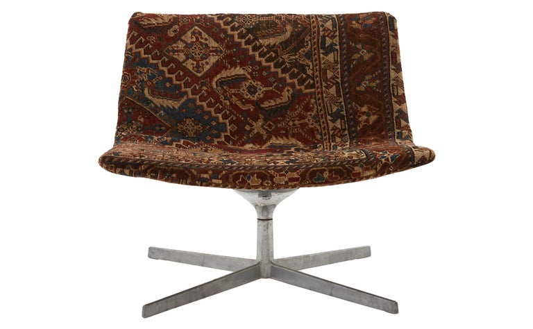 • Reupholstered in vintage rug • Chrome base • Mid-20th century • American  Dimensions • Overall: 31.5