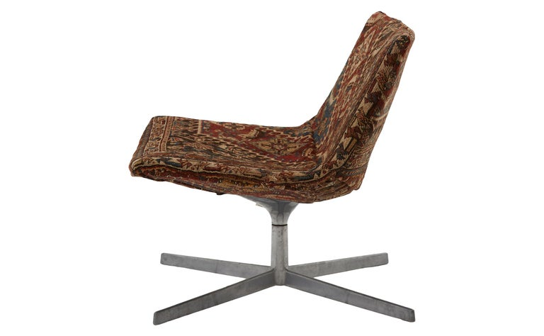 Mid-Century Modern Swivel Chair Reupholstered with Vintage Rug For Sale