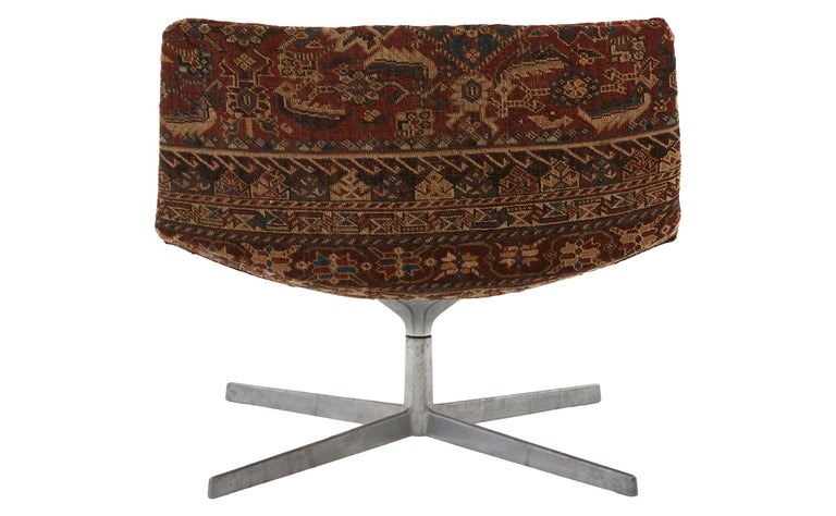 American Swivel Chair Reupholstered with Vintage Rug For Sale