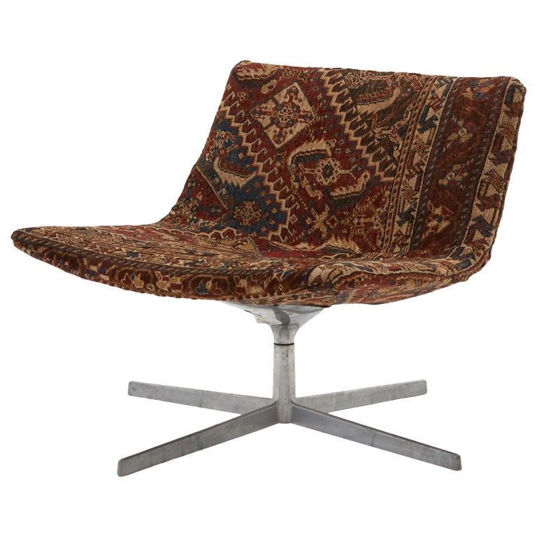 Swivel Chair Reupholstered with Vintage Rug For Sale