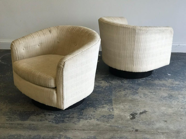 Upholstery Swivel Chairs in the Style of Milo Baughman