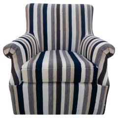 "Swivel Club Chair in Vintage Berber Tribal Striped Kilim Wool, ""One-of-a-kind"""