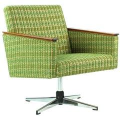 Swivel Club Chair with Chrome and Wood Details, Czechoslovakia, circa 1960
