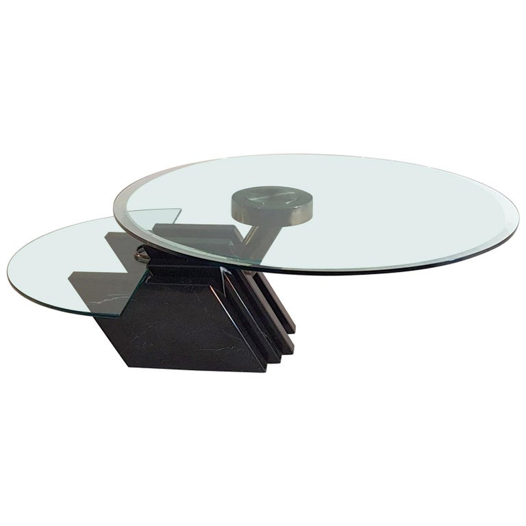 Black Glass Coffee Table Sale: Swivel Coffee Table In Black Marble And Glass, Italy For