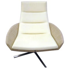 Montis Swivel High Back White Leather and Fabric Hugo Lounge