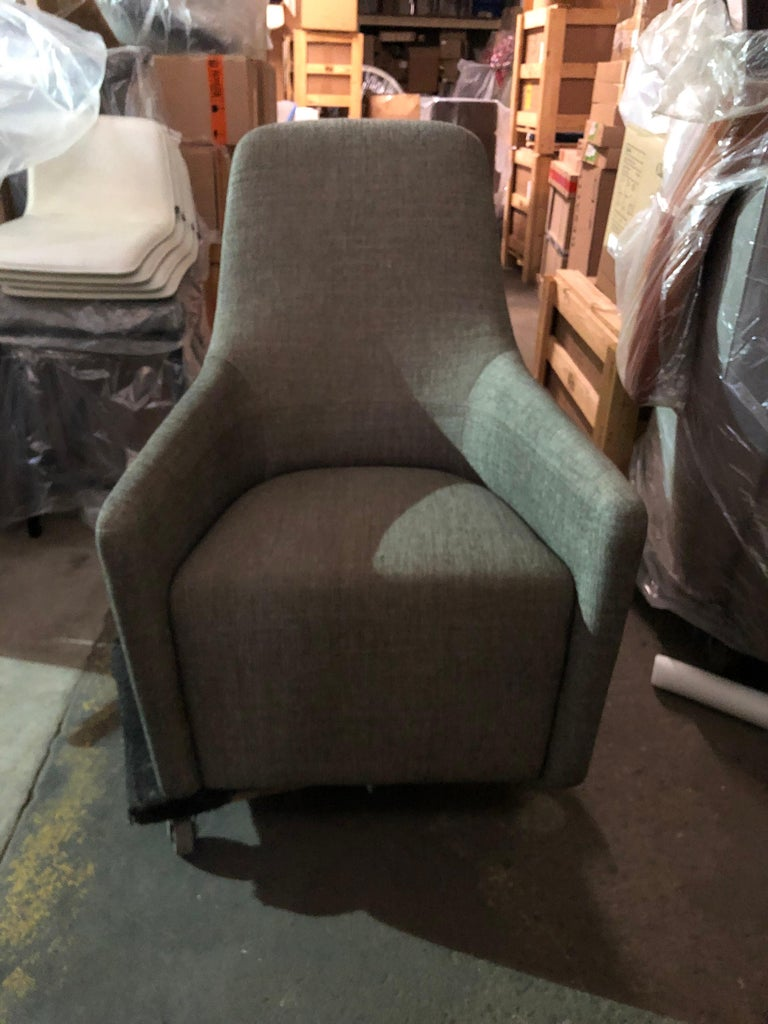 Fabric Walter Knoll Swivel High Back Foster 520 Armchair For Sale