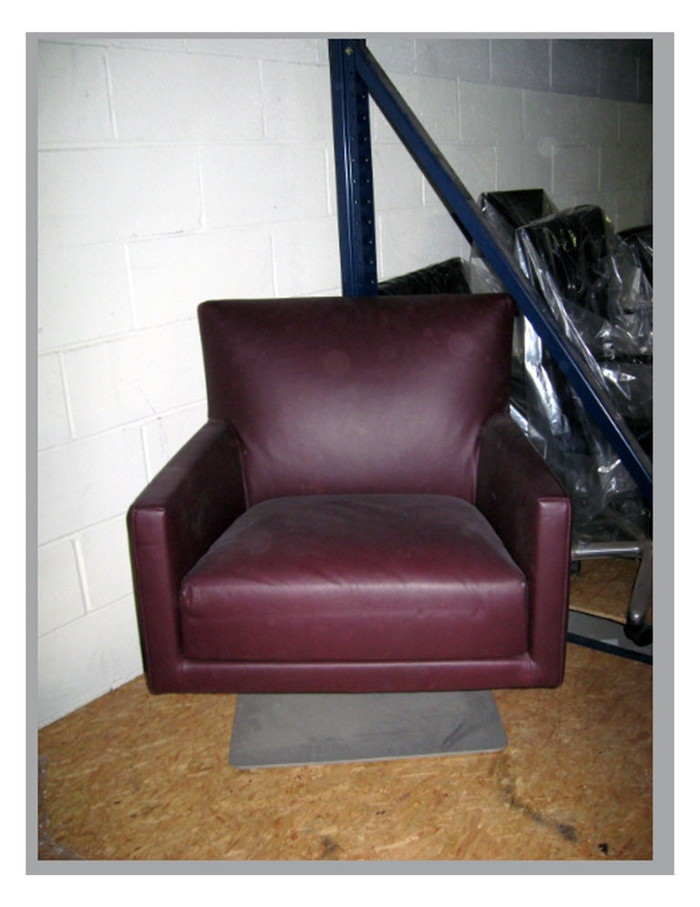 Swivel Leather Armchair In Excellent Condition For Sale In New York, NY