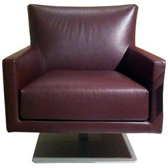 Swivel Leather Armchair