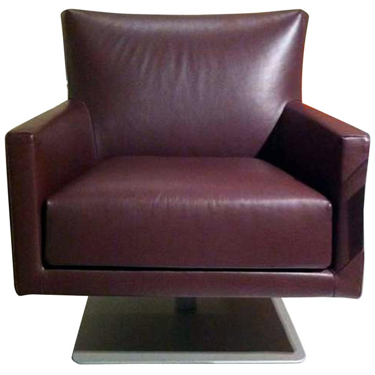 Swivel Leather Armchair For Sale
