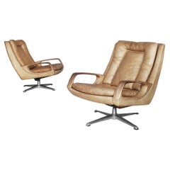 Swivel Leather Chairs by Carl Straub, 1950s, Set of Two