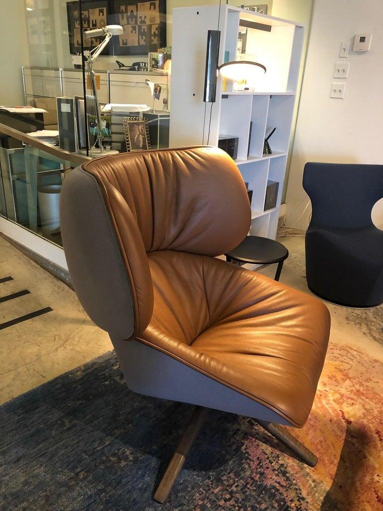 B Amp B Italia Tabano Swivel Lounge Chair Ottoman In Tan