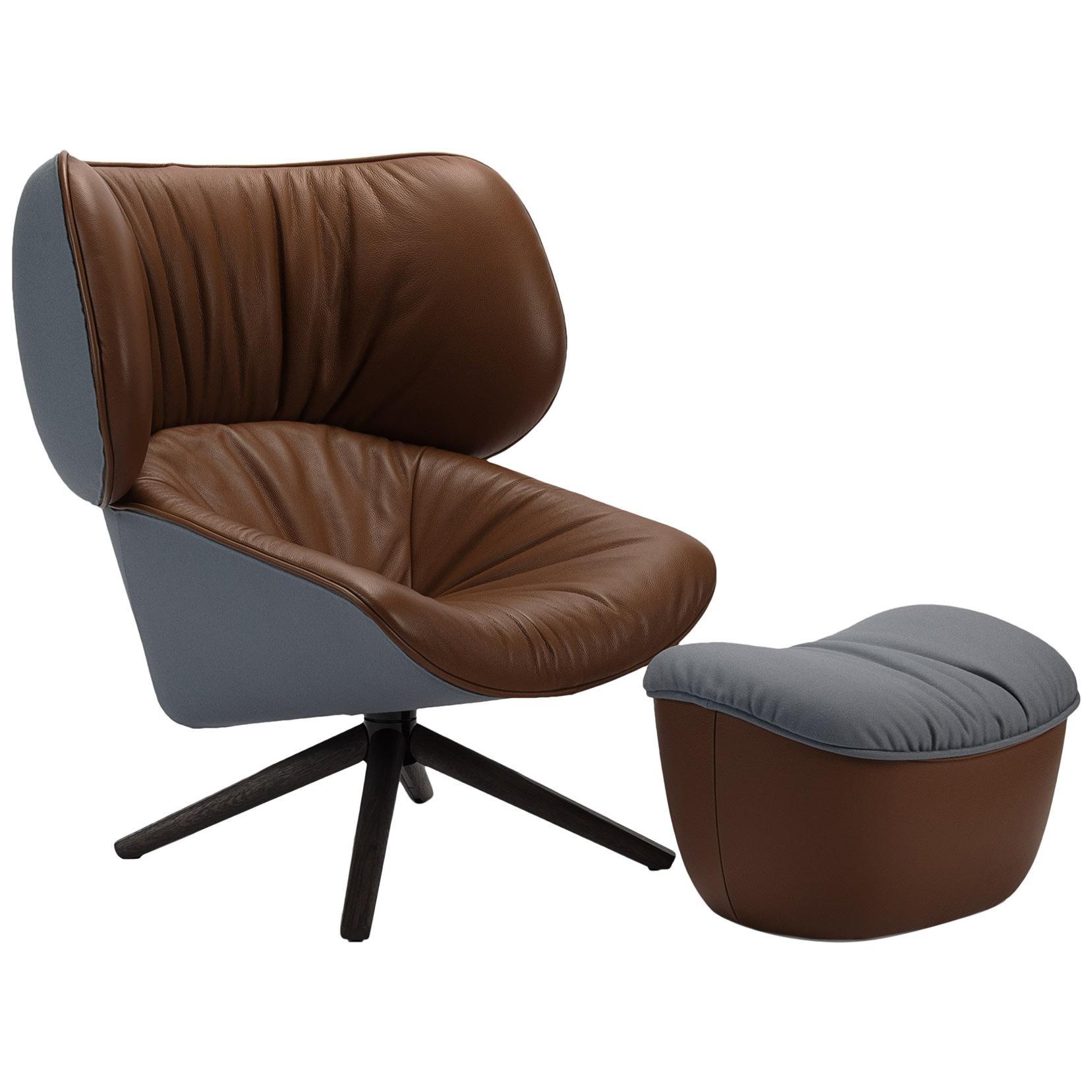 Bu0026B Italia, Tabano Swivel Lounge Chair + Ottoman In Tan Leather/Pale Blue  Fabric