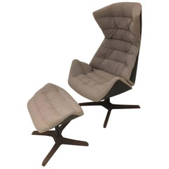 Swivel Lounge Chair with Recline & Ottoman with Walnut Base by Gebruder Thonet