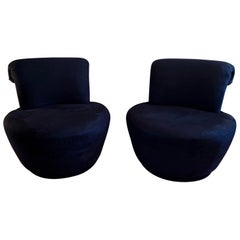 Swivel Lounge Chairs Designed by Vladimir Kagan for Weiman, Pair