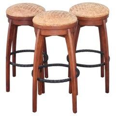 Swivel Midcentury Bar Stools, Leather Seats, 3