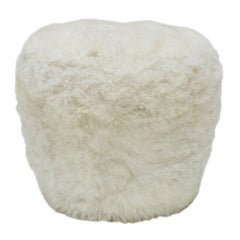 Swivel Pouf Fiberglass by Draga & Aurel, Fox Fur, and Brass 21st Century Model C