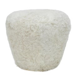 Swivel Pouf Fiberglass by Draga&Aurel, Fox Fur, and Brass 21st Century Model A