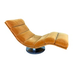 Swivel Rocking Wave Chaise Lounge Chair by Milo Baughman for Thayer Coggin