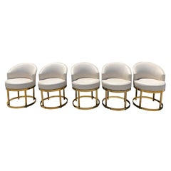 Swivel Stools on Brass Bases in the Manner of Milo Baughman