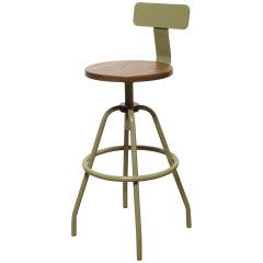 """New """"Swivel Studio Work Stool"""" in Reed Green with Back Rest by Makr"""