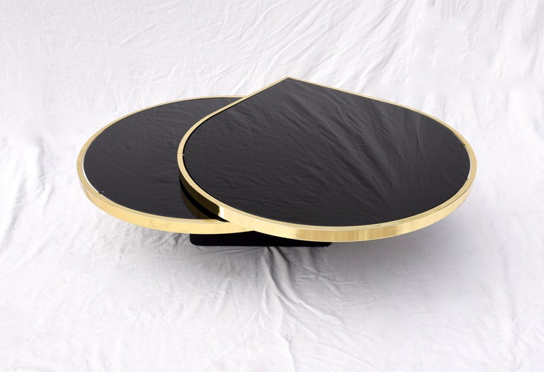 Swivel Brass & Black Glass Cocktail Table by Design Institute of America For Sale 3
