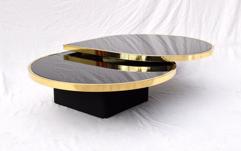 Swivel Brass & Black Glass Cocktail Table by Design Institute of America For Sale 5