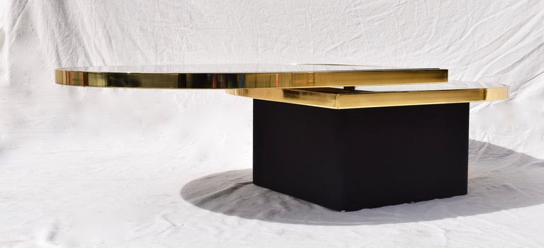 Blackened Swivel Brass & Black Glass Cocktail Table by Design Institute of America For Sale
