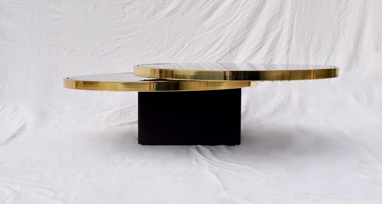 Swivel Brass & Black Glass Cocktail Table by Design Institute of America For Sale 2