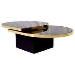 Swivel Brass & Black Glass Cocktail Table by Design Institute of America