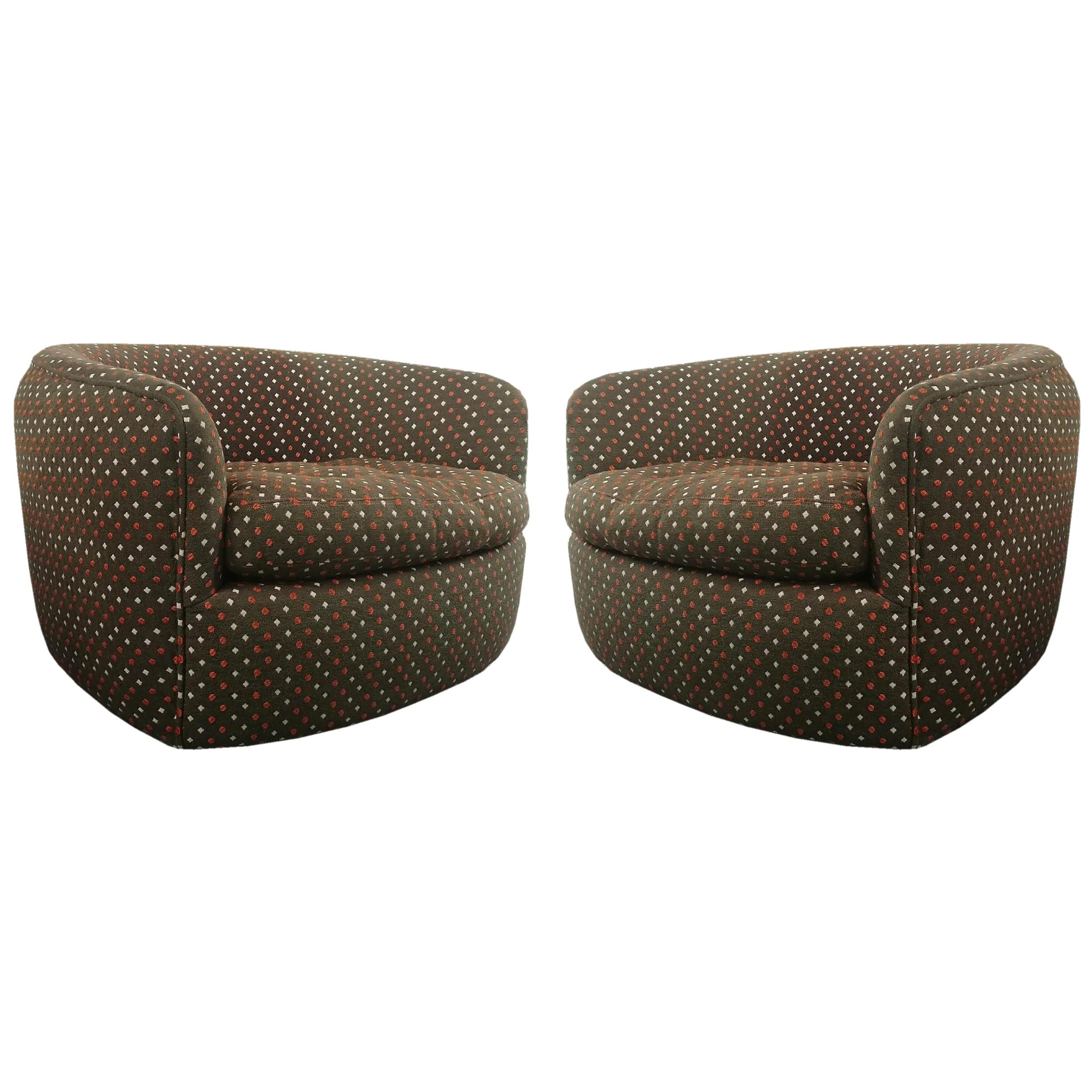 Swivel Tub Chairs Designed by Milo Baughman