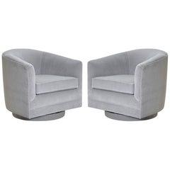 Swivel Tub Chairs in Dove Velvet, Pair