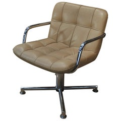 Swiveling Chair Chromed Metal with Beige Leather Airborn, 1970