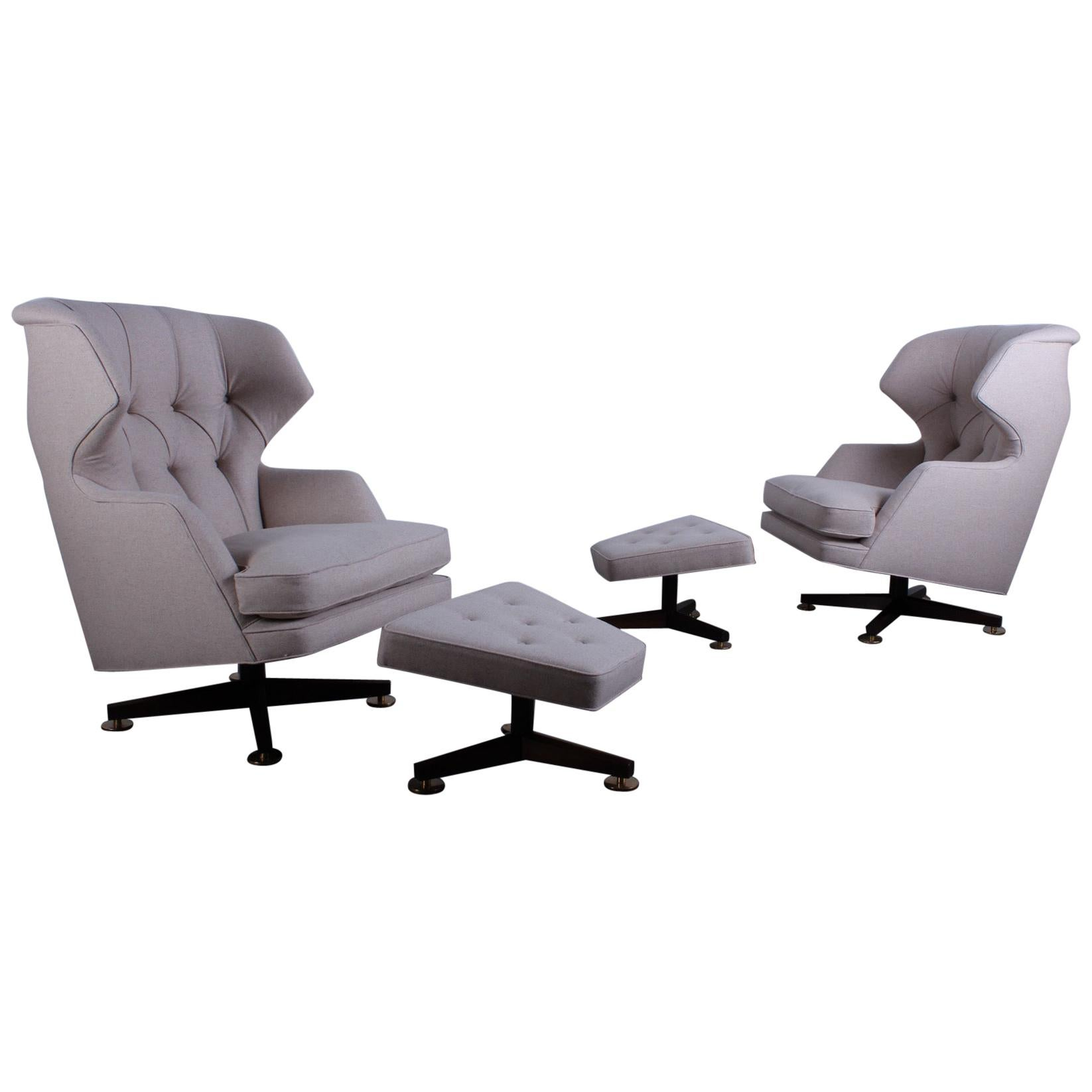 """Swiveling """"Janus"""" Lounge Chairs and Ottomans by Edward Wormley for Dunbar"""
