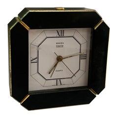 Swiza Black and Brass Desk Clock