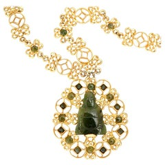 Swoboda Jade Buddha Pendant Necklace