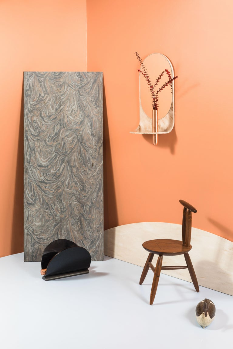Other Swoop Mirror in Curved Stone with Copper Vase by Birnam Wood Studio For Sale