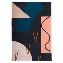 Swoosh Tufted Pile Rug Contemporary Geometric Landscape Wall Hanging Tapestry