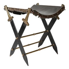 Sword Stool with Leather Seat, 19th Century