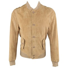 S.W.O.R.D Tan Suede Buttoned Bomber Style Jacket Coat